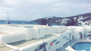 Our balcony view at the Mykonos Ammos Hotel