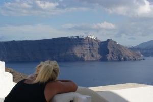 Gazing at Oia . Photo Cred: My Hubby.